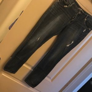 Express distress skinny jeans